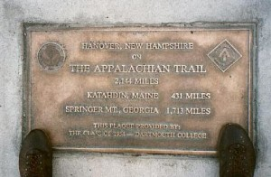Plaque at entrance to Appalachian Trail in Hanover, NH